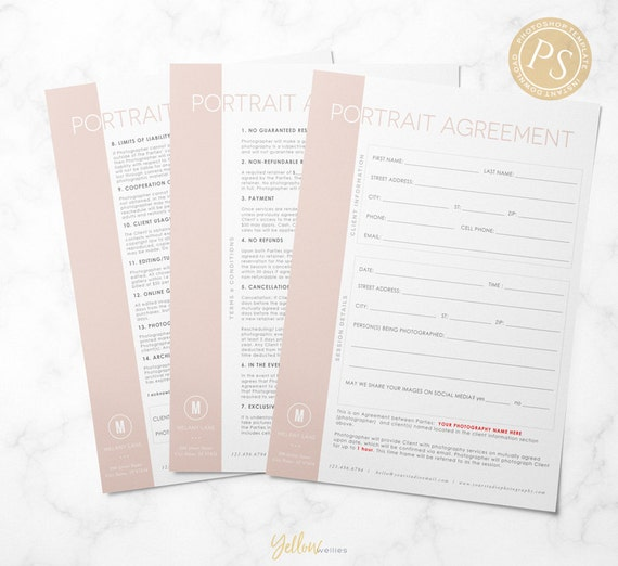 portrait contract template photography form business tools. Black Bedroom Furniture Sets. Home Design Ideas