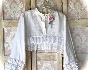 Embroidered Linen Ruffled Shrug