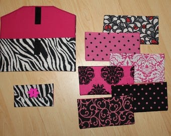 Zebra Print Fabric Cash Envelope System with Embroidered Labels
