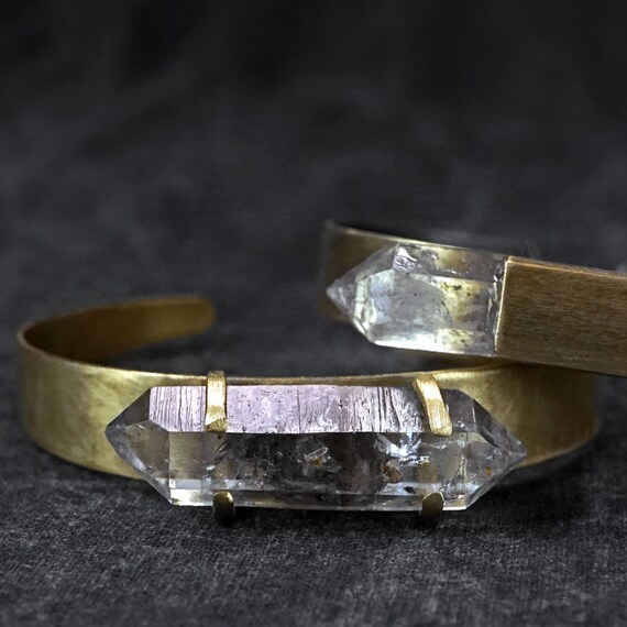 RAW HERKIMER DIAMIOND Cuff Bracelet - Distressed Aged Brass