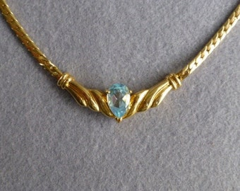 1980s Aquamarine Gold Tone Herringbone Chain