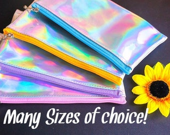 Holographic zipper bag, change purse , small zipper bag, silver holographic , handmade change purse, medium size makeup bag, holographic bag