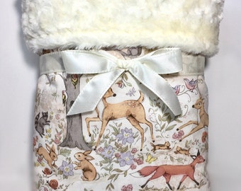 Woodland Baby Blanket - Woodland Nursery Bedding - Baby Girl Blanket - Baby Boy Blanket - Minky Baby Blanket - Crib Blanket - Baby Gifts -