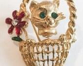 Trembler Cat in a Basket Brooch, Vintage Jewelry, WINTER SALE