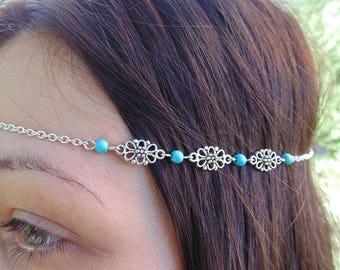 Turquoise headband,Unique headband, Boho head chain, Chain headband, Metal head band, Boho Hair Chain.Hair Jewelry, Chain headdress