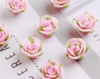 20 pcs 16mm Polymer Clay Flower Beads, FIMO pink rose Pendant, Charm craft jewelry, wedding,Necklaces Earrings Bracelet Accessories