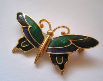Vintage Butterfly Brooch Signed SFJ Blue and Green Enamel on Gold Tone Pin Figural