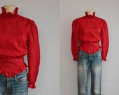 Vintage 1970s Blouse / 70s Red Silky Prairie Shirt wiwth High Ruffled Collar Button Back / Victorian Style