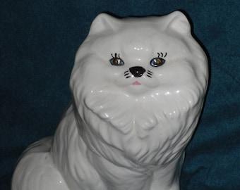 White Cat Planter Glazed Ceramic Flower Pot Large Long Hair Vintage