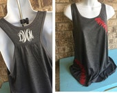 Baseball or Softball Laces Flowy Tank- Monogram on back,  Baseball Mom Tee, shirt with red laces, Baseball lover, baseball tank