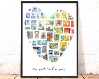 Love Will Find A Way Print | Valentine Gift for Girlfriend, Boyfriend, Wife, Husband, Partner | Wedding, Anniversary Gift | Stamp Art