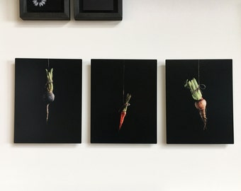Root Vegetable Painting Prints on Metal
