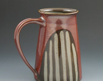 Beer Mug Large Stein in Red with Brown and Grey Stripes Handmade Pottery