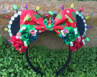 Ready to Ship Christmas Tree Mouse Ears with Red & Green LED Xmas Lights and Minnie Wreath