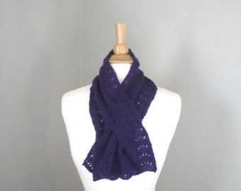 Royal Purple Pull Through Scarf, Cashmere Scarf, Keyhole Scarf, Neck Warmer, Luxury Natural Fiber, Office, Women, Hand Knit