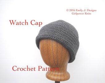 Crochet Watch Cap Pattern, Beanie Hat Easy Crochet Pattern, Worsted Wool Yarn, Roll Brim Hat, XS S M L XL, Tweens - Adults, Instant Download
