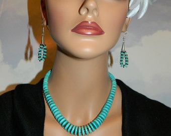 Native American Graduated Turquoise Necklace and Earring Set