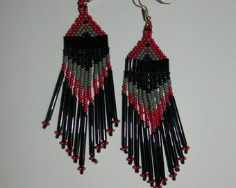 Native American Beautiful Wine, Gray and Black Dangle Beaded Earrings w/ Long Black Bugles