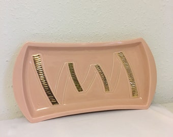 vintage pink tray, pink and gold serving tray, mid century modern serving dish, ceramic platter, AC Davey platter, AC Davey California Tray