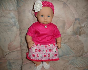 "Itty Bitty Baby 15"" Doll Clothes 4 Pc Pink Hello Kitty Skirt/Top/Headband/Shoes Set"