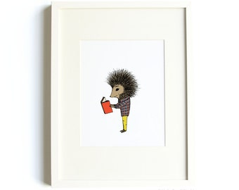 Reading Porcupine Print - Reading Art, Animal Art, Porcupine Art, 8x10 Print, Nursery Art