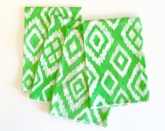 Cloth Napkins - Green and White Ikat Cloth Dinner Napkins- Set of 4- Limited Edition