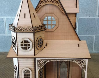 Half Inch Scale, The Gothic Revival Victorian Cottage, 1:24 Scale, SHIPS WORLDWIDE
