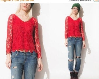 50% OFF ENTIRE STORE Vintage 90s Sheer Crochet Red Open Weave Lace Sweater Top // Crop // Boho Hippie