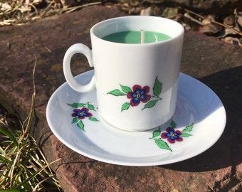 Pine Tiny Teacup Candle and Saucer