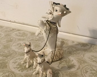 Vintage Lipper&Mann Porcelain Spaghetti Poodle with Baby Poodles on Chain