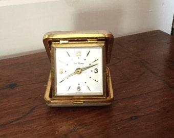 Vintage Seth Thomas Travel Alarm Clock,Travel Clock,Metal Case,Engraved Floral