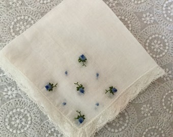 Vintage Embroidered Handkerchief,Bridal Hankie,Something Blur