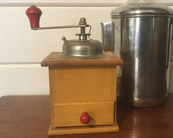 Vintage Coffee Grinder, Wood Coffee Grinder