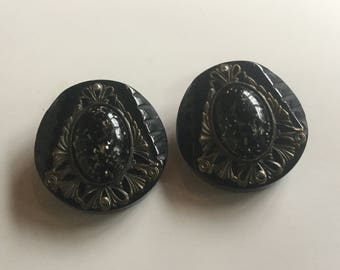 Vintage Large Bakelite Button black and apple juice bakelite tested possitive,Set of Two