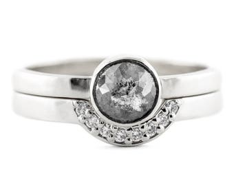 Black Rose Cut Diamond Ring, 14k White Gold