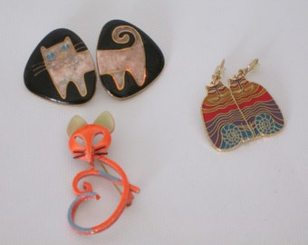 Vintage Signed Collection of Cat Jewelry.  Laurel Burch Rainbow Cats and Arthur Pepper Brooch.