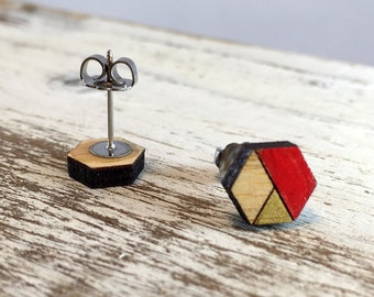 Wood Earrings //Red and Gold Hexagon Bamboo // Geometric // Hypoallergenic  // Wood Jewelry //