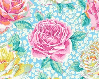 Philip Jacobs for Rowan & Westminster Fibers - Rose Bloom - Sky Blue - 1/2 Yard Cotton Quilt Fabric 217