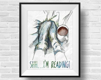 Cozy Winter Shh I'm Reading Book Nerd Designer Original 8 x 10 Typography Art Dictionary Print Watercolor Frame It Yourself