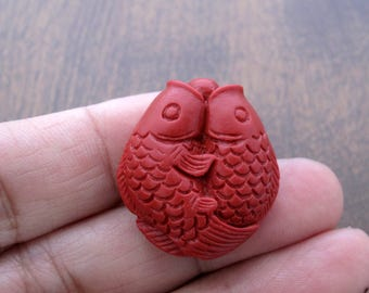Carved  small koi fish cinnabar beads,  pendant,  Rich red  ,jewelry making supplies S7695