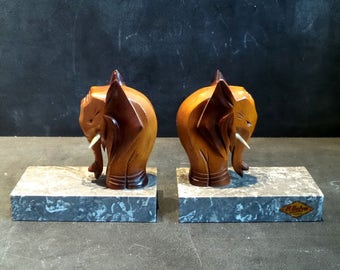 Vintage Bookends. Elephants Book Ends with marble base . Hand carved elephant .