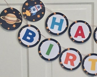 OUTER SPACE Happy Birthday or Baby Shower Party Banner - Party Packs Available