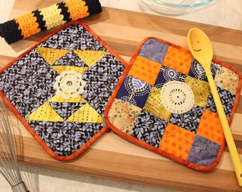 Hand Quilted Pot Holder-Crocheted Washcloth Set of 3 - Blue Orange and Yellow - Mother's Day Holiday Gift Basket Gift
