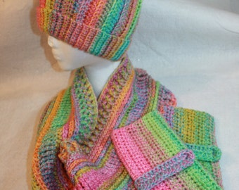 Hand Crocheted Hat - Fingerless Gloves and Matching Cowl