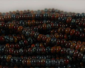 4/0 (5MM) Rouge Black striped Heavy Picasso Mix Seed Bead