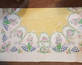 """Vintage Yellow and White Large Rectangle Tablecloth 54"""" x 96"""""""