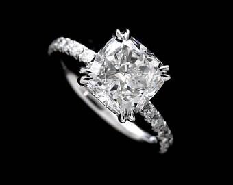 Cushion Diamond Engagement Ring Setting, French Cut Down Micro Pave Diamond Ring, Classic Half Way Diamond 14k White Gold Proposal Ring