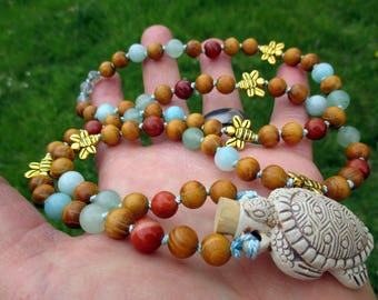 Earth Magick Pagan Prayer Beads with Turtle Bottle, Red Jasper, Aventurine, & Amazonite / 72 Mala / Devotional Necklace