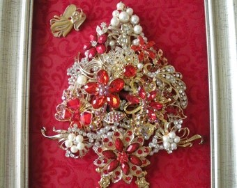 """JEWELED CHRISTMAS TREE, Vintage and New Brooch Tree, Red and Gold, Pearl Brooches,Unique Christmas Gift, 11"""" x 13"""""""