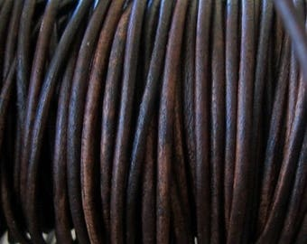Vintage Brown 1.5 mm Round Leather Cord  6 Yard Naturally dyed Jewelry Lace crafts